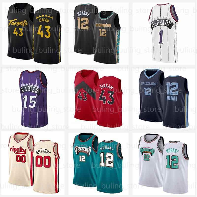 Toronto Raptors Vince 15 Carter Jerseys Ja 12 Morant Memphis Grizzlies Carmelo 00 Anthony Toronto Pascal 43 Siakam Memphis Tracy 1 McGrady Kyle 7 Lowry 2021 Basketball