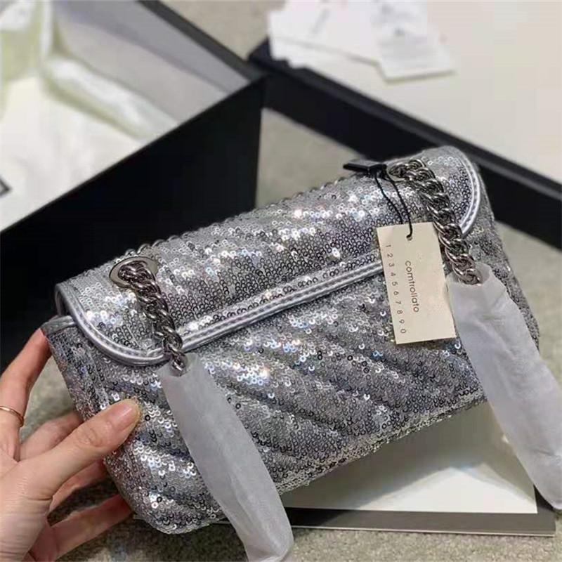 Новое поступление сплава писем пряжка версия Sequins Cross Body Buashs Silver Think Chrips ремень сумки роскоши дизайнеры сумки пайки 22см