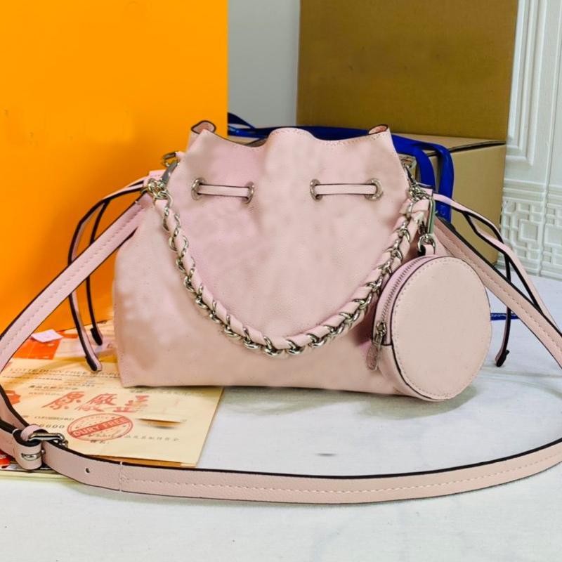 Muria Bucket Bag Women Crossbody Bag Long Shoulder Strap Bags Curved Calfskin Leather Handbag Purse Old Flower Lady Tote Bags Tag Key Bag