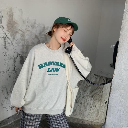WbeLH Huayuan экипаж sweaterautumn новое корейское издание рыхлого и универсальный печататься письмо свитера шеи длинного рукава свитер случайного студента 21897