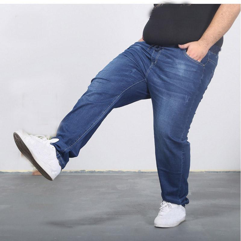 jean surdimensionné 160kg grand PANTALON supplémentaires grands hommes minces été pantalon de printemps 11XL 60 grand Szie 12XL pour les hommes blue jeans
