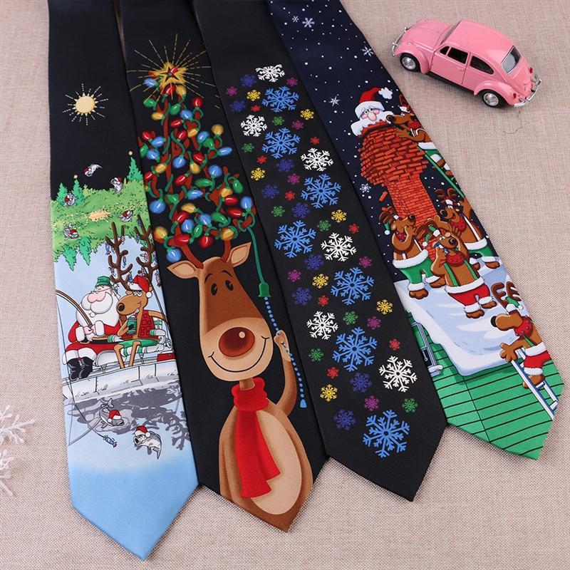 Vfohu christmas largo 8cm gravata mão impressão natal 8 cm amplo nó impresso corte casual desenho animado casual desenho animado casual