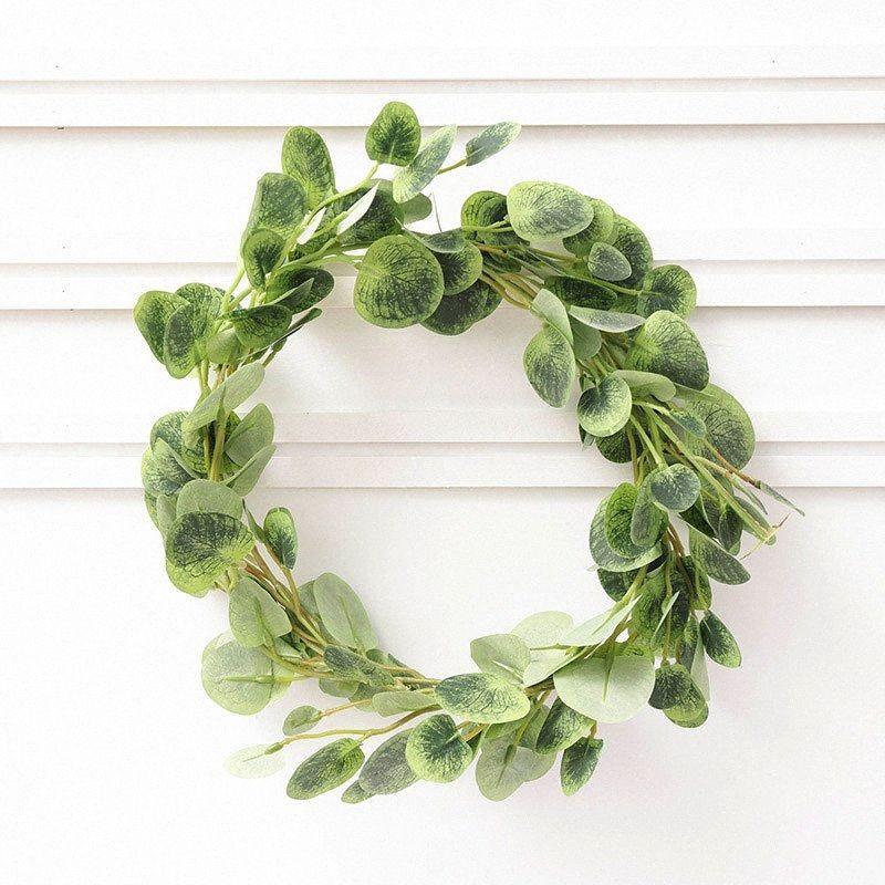 Листья эвкалипта Искусственный Ivy Leaf Garland Главная Декор Свадебные украшения Растения Зеленые Vine Поддельный Листва Цветок ручной 200см 8qyX #