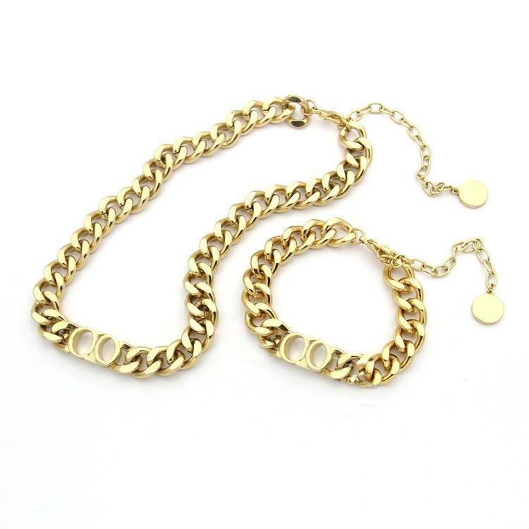 Moda de acero inoxidable Letra 14K Oro Cuba Cuba Cadena Collar Pulsera para hombres y mujeres Amantes de la fiesta Regalo Joyería de Hip Hop para mujeres