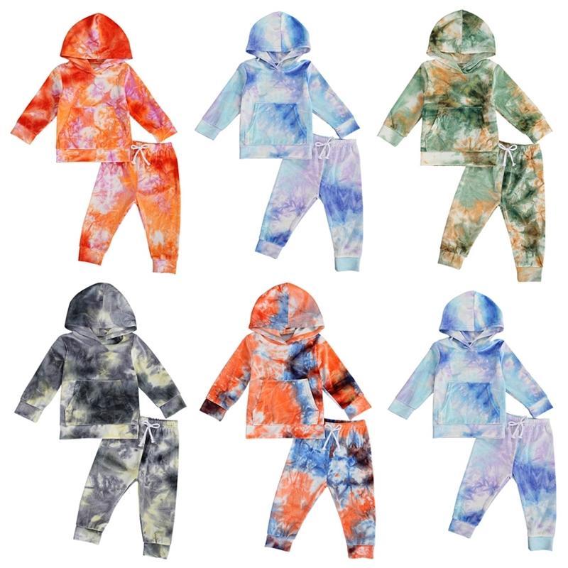 1-6y outono infantil meninas meninos meninos tie-tintura vestuário conjunto de manga comprida com capuz top + calças cuis roupas roupas y200831