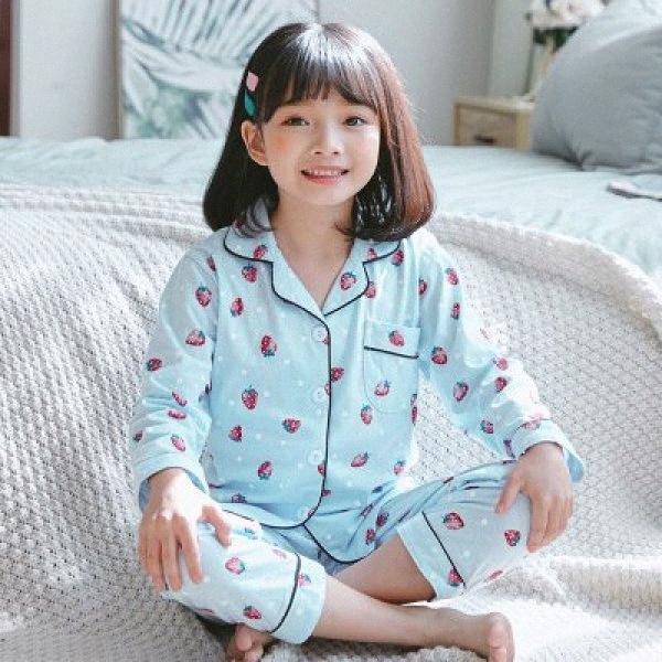Nouveau Casual enfants Cardigan Costume Coton 2020 enfants Pyjamas Set Cartoon Mode Printed filles de nuit à manches longues garçon Survêtement 9AnY #