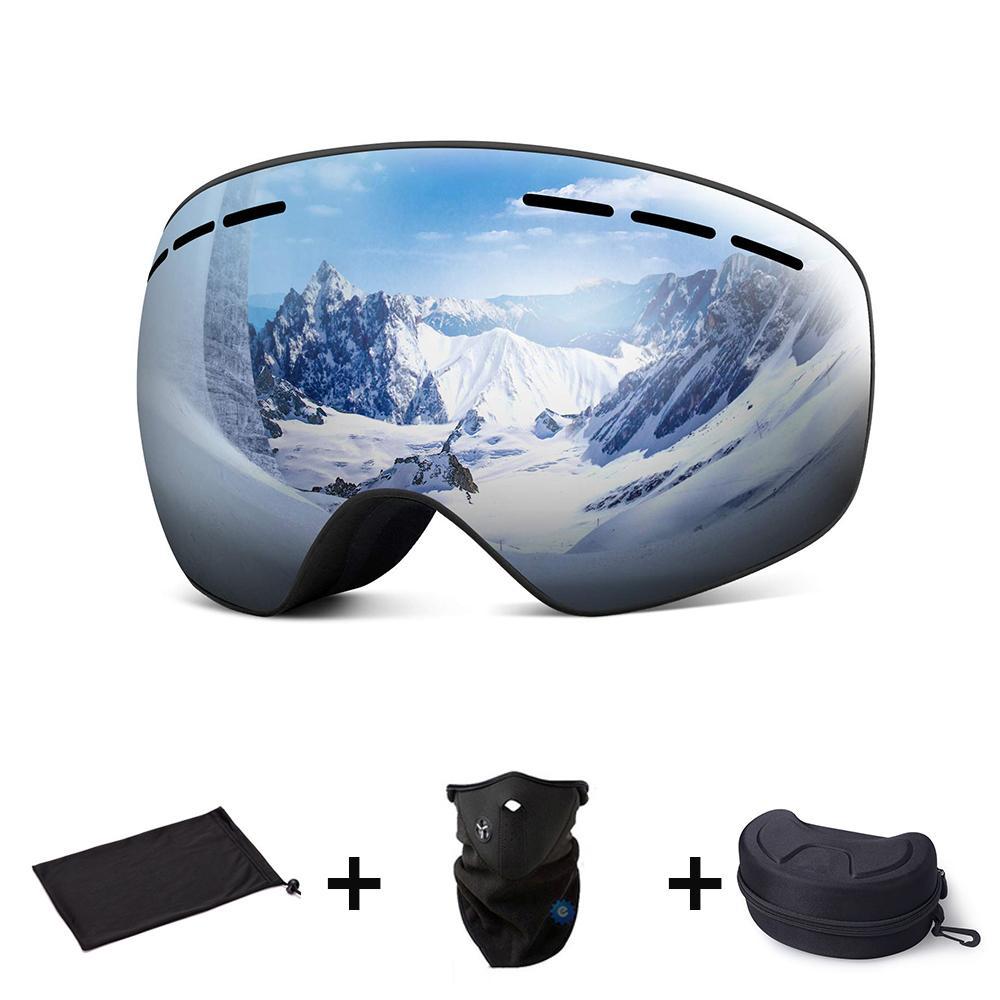 Магнитные двойные слои объектива Лыжные очки Маски противотуманным UV400 Snowboard Goggles лыж очки очки для мужчин, женщин с футляром C1007