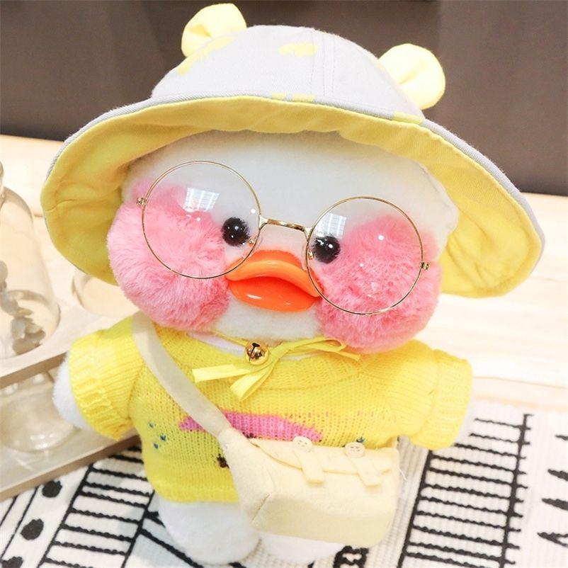 30 cm dos desenhos animados bonito lalafanfan cafe pato brinquedo de pelúcia recheado macio kawaii pato boneca animal almofada presente de aniversário para crianças crianças 201222