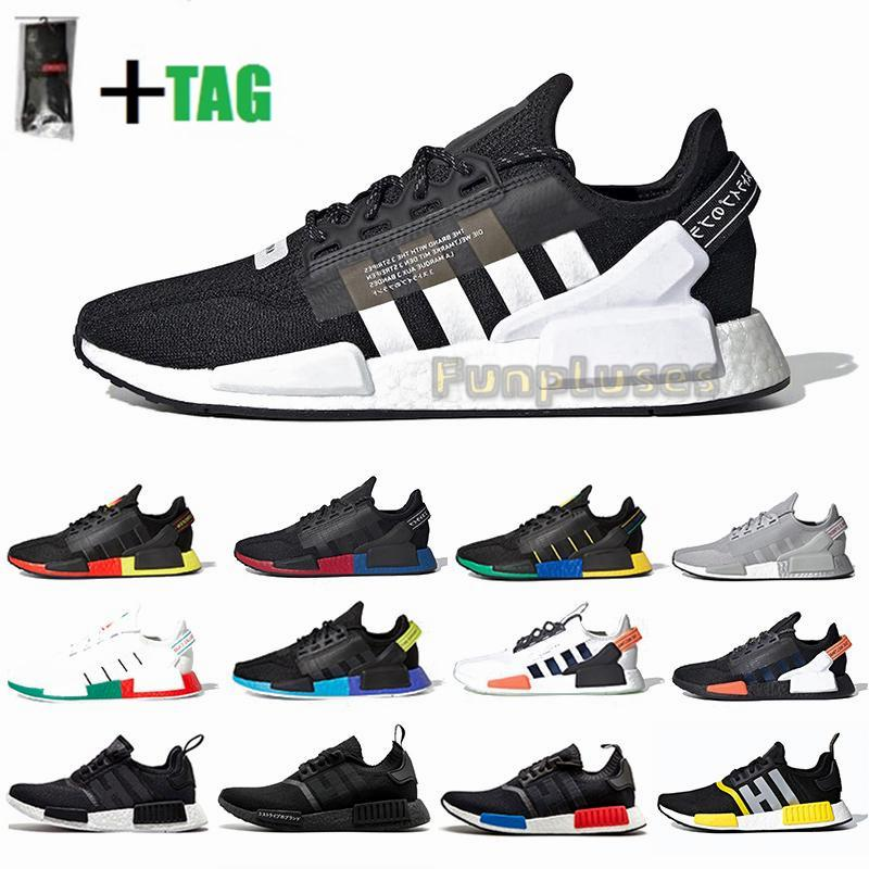 2021 NMD R1 V2 Mens Running Shoes Core Black White Mexico City Oreo OG Aqua Tones Trainers Womens Japan Sports Tennis Sneakers With Socks