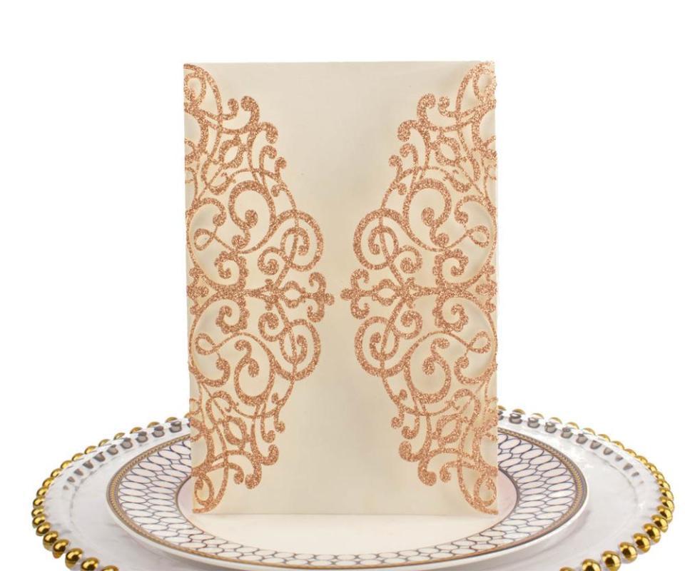 50pcs Spedizione gratuita, lusso personalizzato oro rosa glitter carta laser taglio laser inviti, carte invito a nozze, decorazione di nozze