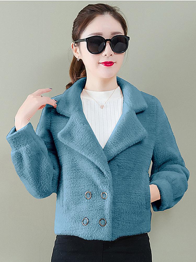 Новые 2020 осенние женщины короткие пальто маленькие из бархатной шерсти длинные пальто 53DW TVCB