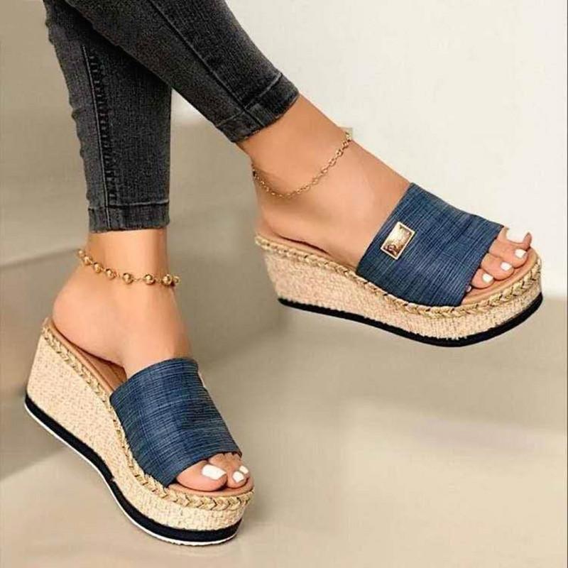 2021 летние сандалии обувь ботинки мода на высоком каблуке клин каблука водонепроницаемый открытый пляж вскользь женские Zapatos mujer1