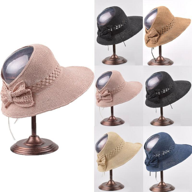 Floppy Foldable Women Bow Straw Beach Sun Summer Hat UV Protection Wide Brim Cap
