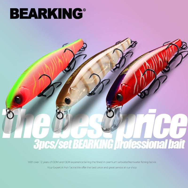 Bearking Mejor precio 3 unids / set 11 cm 15 g de buceo 1.5m Equipo de pesca Shone Revestimiento Minnow Guila Peso fijo Wobbler Bait Isca Artificial 201031