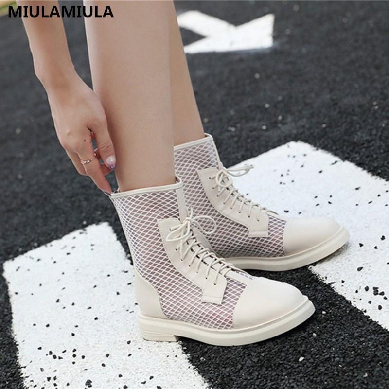 MIULAMIULA Brand Design Apricot Hot Black Tamanho 35-40 Sexy Air malha respirável Comfy Platform Curto Botas Zipper Mulheres sapatos