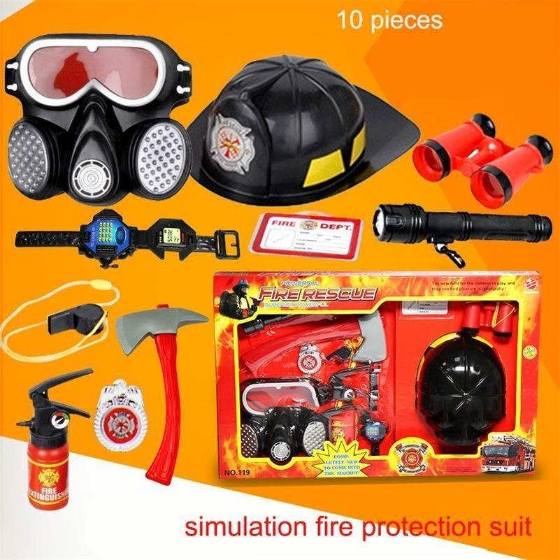 10pcs Set Kids Play Firefighter Toy Tool Learning Toy Fireman Helmet Fire Rescue For Children's Kids Childen Best Birthday Gift LJ201009