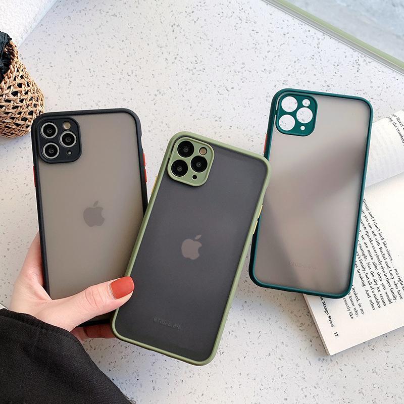 Protección de la cámara pegatina cajas del teléfono de iPhone 6.1 Mini 12 11 11 Pro Max XR XS Max X 8 7 6S Plus mate translúcido a prueba de golpes contraportada
