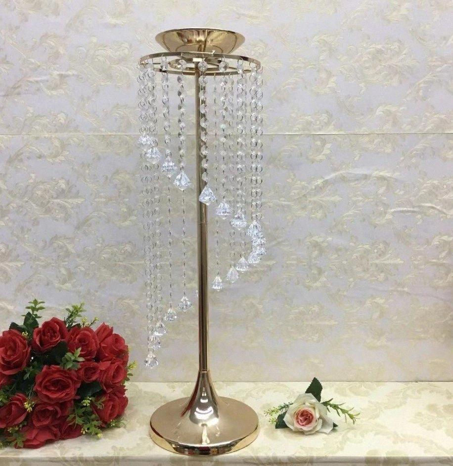 silver Gold Crystal Wedding Centerpiece party backdrops props crystal candle holder Table Flower Banquet metal rack Decoration Pl9f#