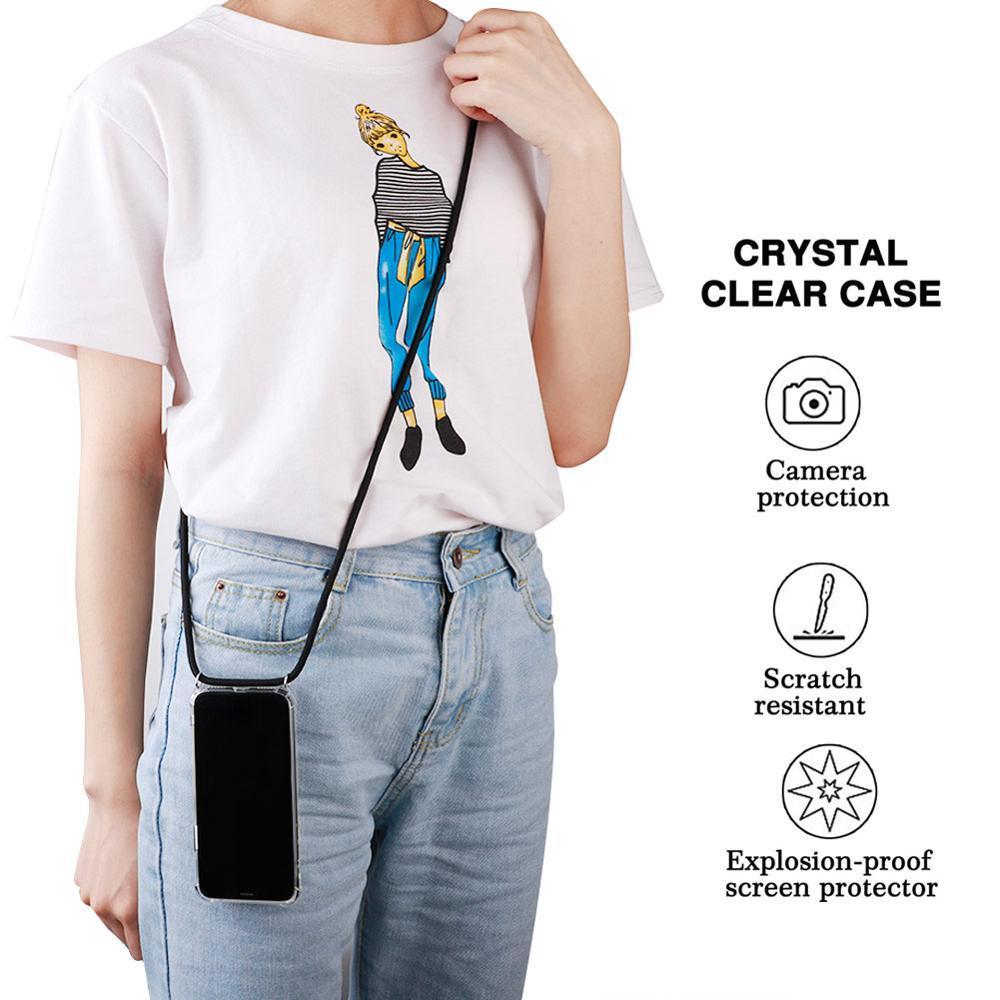 Para Iphone 11 pro x xs xr max Bag 6 7 8 Plus 6s Transparente ombro Cor da tampa do caso Gota Airbag para samsung S8 s9 s10 mais Nota 10 A7 A9