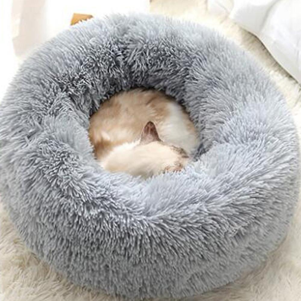 Круглая кошка кровать дом мягкий длинный плюшевый домашний питомник питомник собака кровать корзина для домашних животных подушка моющаяся кошка домашняя кровать большие коврики животных диван 201111