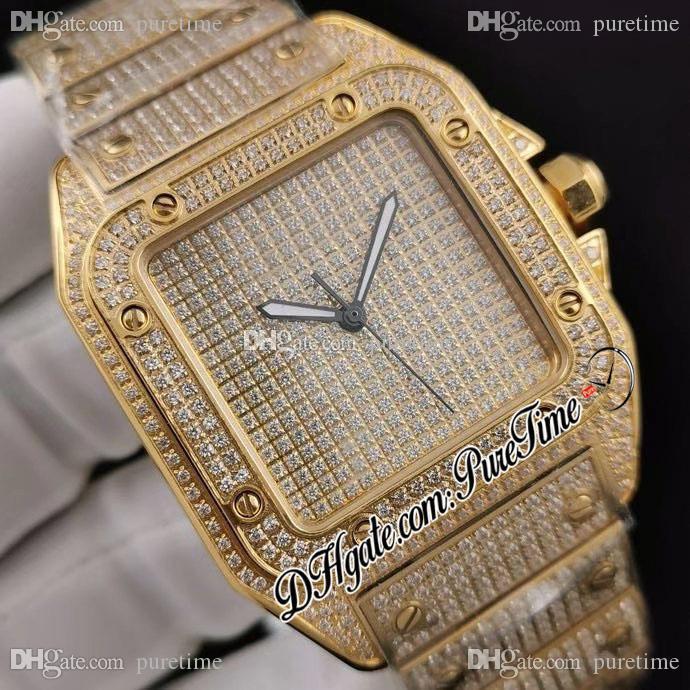 DRF Asfalt Simüle Pırlantalar Dial 18 K Sarı Altın Elmaslar Bilezik ETA A2824 Otomatik Erkek İzle 2021 Hip Hop Bling Takı Puretime E232