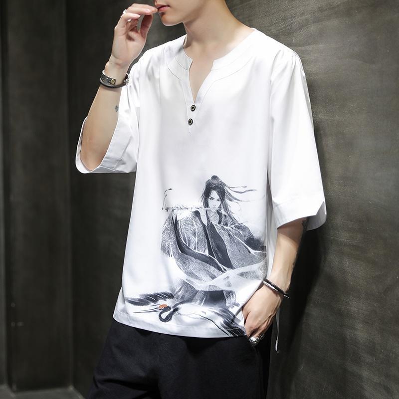 Yaz Geleneksel Çin Giyim İçin Erkekler Pamuk Keten Bluz Elbise Hanfu Erkekler Tang Suit Streetwear Tees KK3310 Tops
