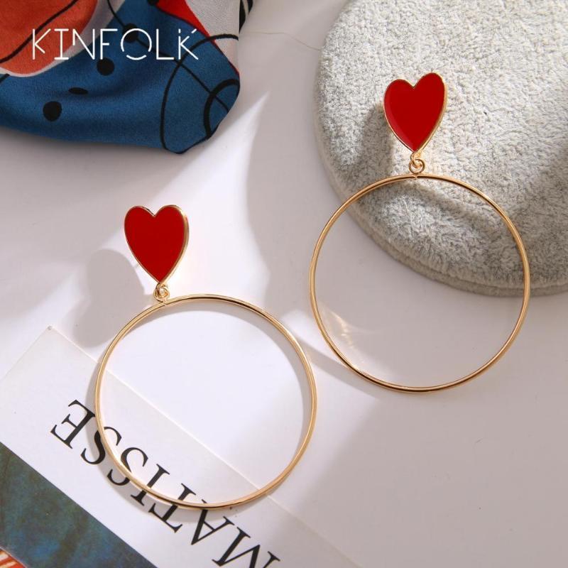 HOOP Huggie Kinfolk Fashion Gold Hoppe Boucles d'oreilles pour femmes Bohême Boucle d'oreille Big Hoops Branché Boutiles Coréen Bijoux 20211