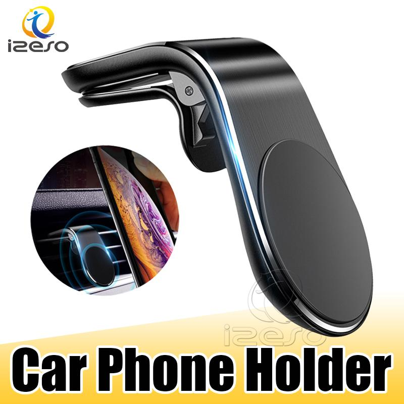 Магнитный держатель Автомобильный телефон L Форма Air Vent Mount Встаньте GPS Mobile Автомобильный держатель для телефона iPhone 12 Samsung Smart Phone izeso