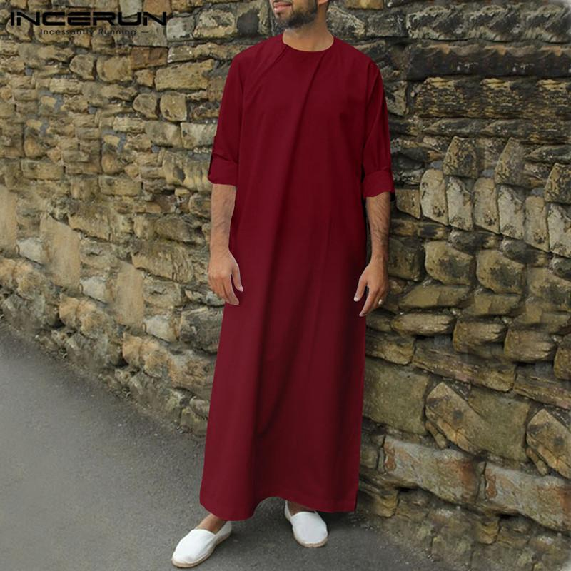 INCERUN Hombres islámica Kaftan árabe musulmán Abaya sólido de manga larga floja del cuello de O Jubba Thobe Dubai Oriente Medio para hombre de los trajes más del tamaño