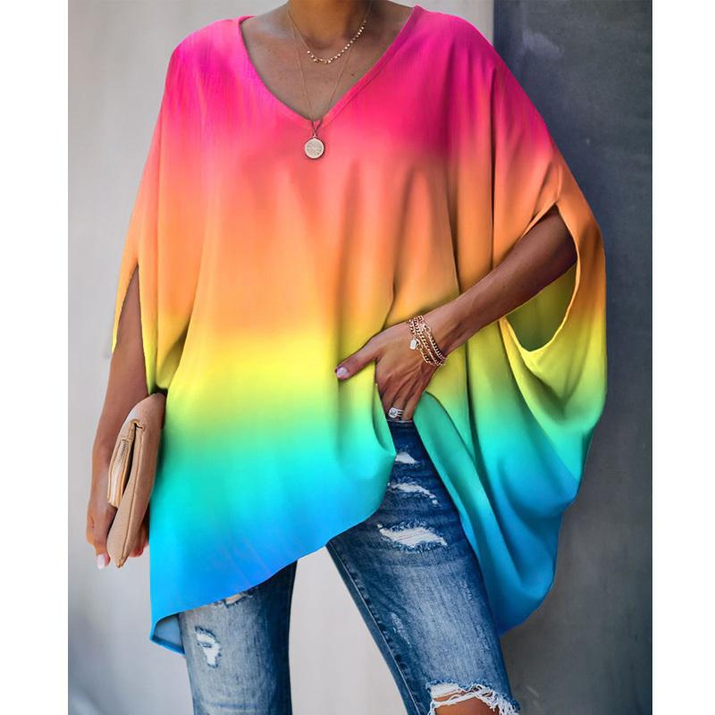 New Trendy Donne Summer Summer Tops Top Blusa Tie Dye Print Colorblock Block Sleeve Sleeve Blusa casual camicetta F0114