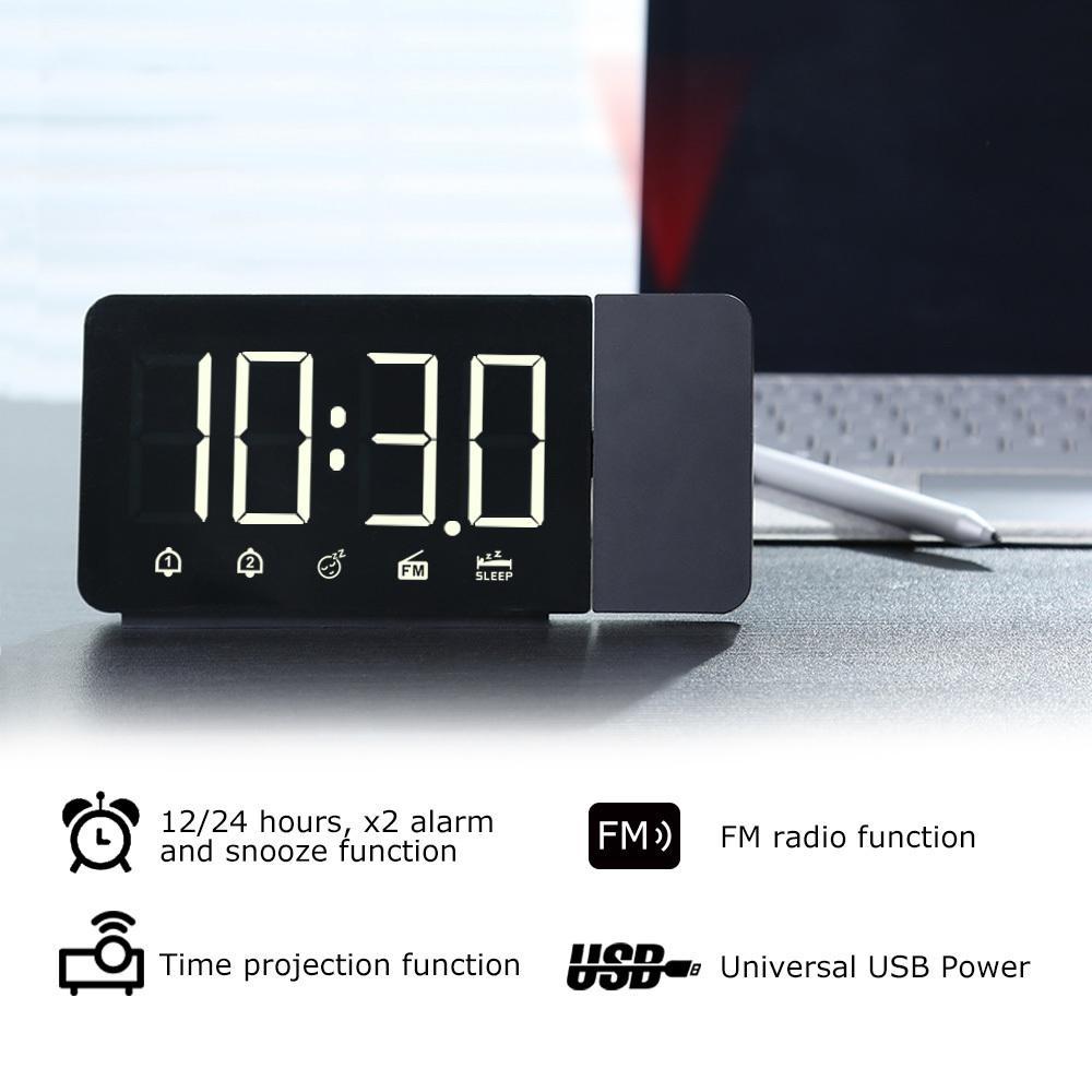 Fanju LED Digital Alarm Clock Tabela Eletrônica Desktop Clocks USB Wake Up FM Radio Time Projetor Snooze Função 2 Alarme LJ201204