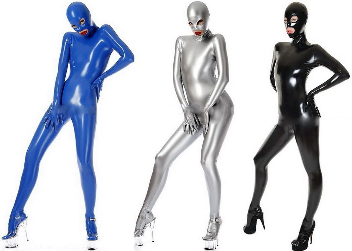 Unisex Full Body Suit Costumes Outfit New 7 Color Shiny PVC Suit Catsuit Costumes Unisex Halloween Party Fancy Dress Cosplay Costumes DH235