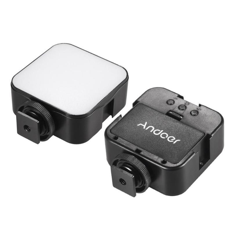 Andoer 5W 6500K Диммируемый Mini LED Video Light Фото Принудительная Lamp холодной башмак адаптер для камеры DSLR