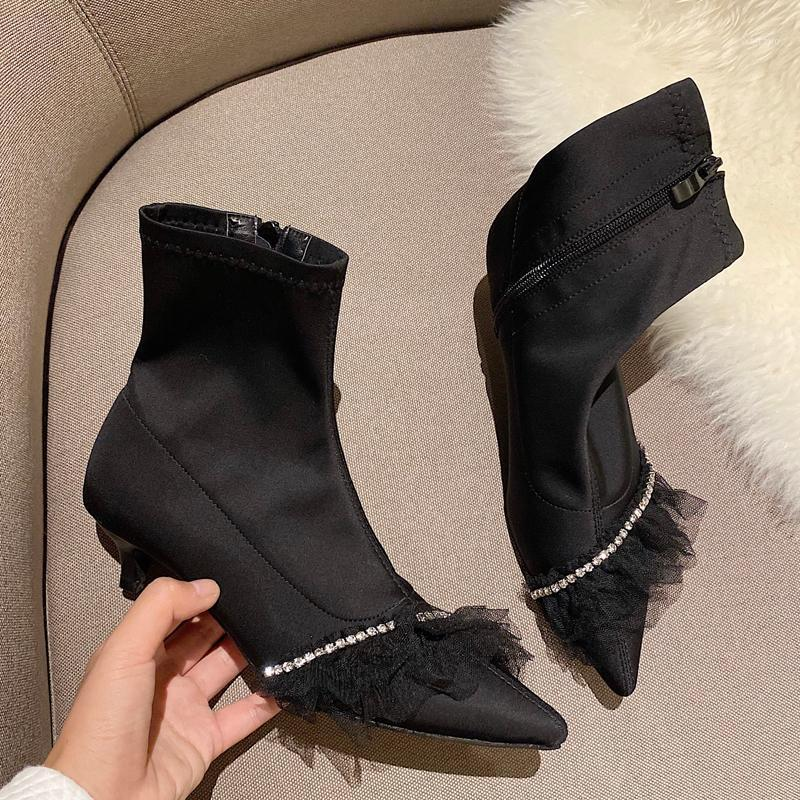 Black High Heels Designer Womens Short Boots Ladies Low Heel Ankle Boots Fall Pointed Toe Female Shoes Vrouwen Laarzen1