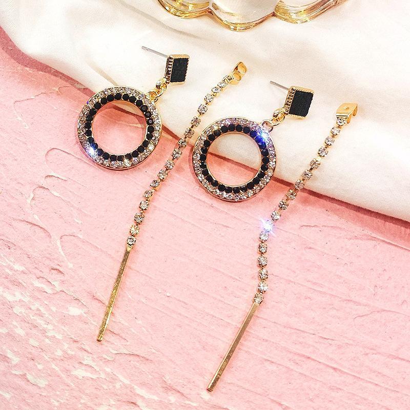 FYUAN Мода черный кристалл круглый обруч серьги цвета золота Rhinestone Длинные серьги кисточкой для женщин Свадебные ювелирные изделия