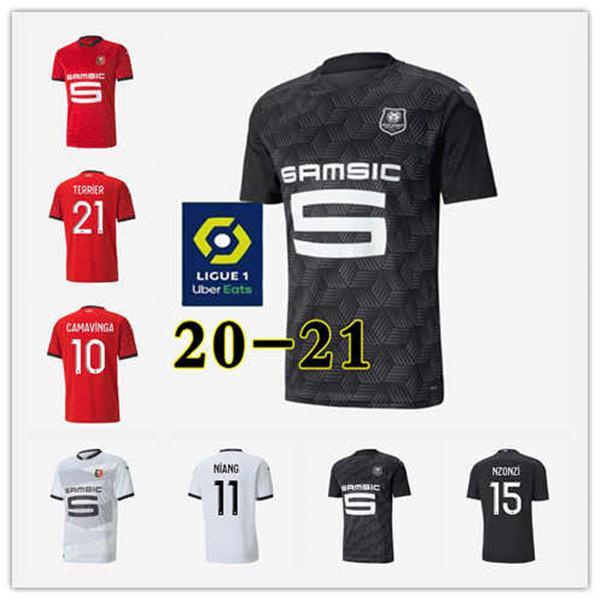 Rennes 20 21 Stade Rennais FC Fussball Trikots Away Niang Bourigeaud Terrier 2020 2021 MAILLOT DE FOUT Camavavy Hommes + Enfant Football Hemden