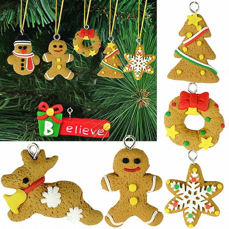 Party Decor hombre de pan de jengibre 6pcs Adornos de Navidad muñeco de nieve ciervos Chrismas árbol colgante Decoracion Navidad Año Nuevo Suplies g0tJ #