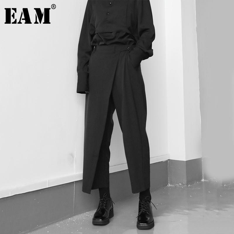 [EAM] Alta elastico in vita nero Brevi Pieghe pantaloni lunghi Nuova misura allentata pantaloni donne marea moda Primavera Autunno 2020 1S430 1017