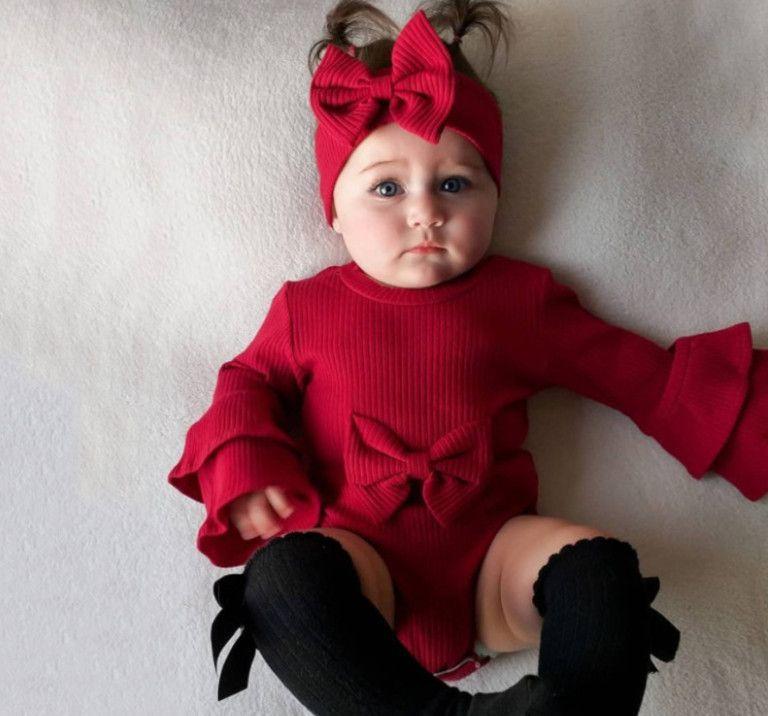 Ins Baby Christmas Pagliaccetti Baby Girls Bow Headband Falbala Flare Sleeve Romper Bambino Bambini Bambini in cotone Salita vestiti Baby Xmas Abbigliamento A4899