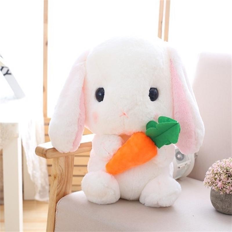 22cm Kawaii Weiche LOP Kaninchen Plüschtier Spielzeug Rosa Gefüllte Plüsch Kaninchen Puppe Graduation Spiel Spielzeug Für Kinder Pädagogisches Geburtstagsgeschenk 201214