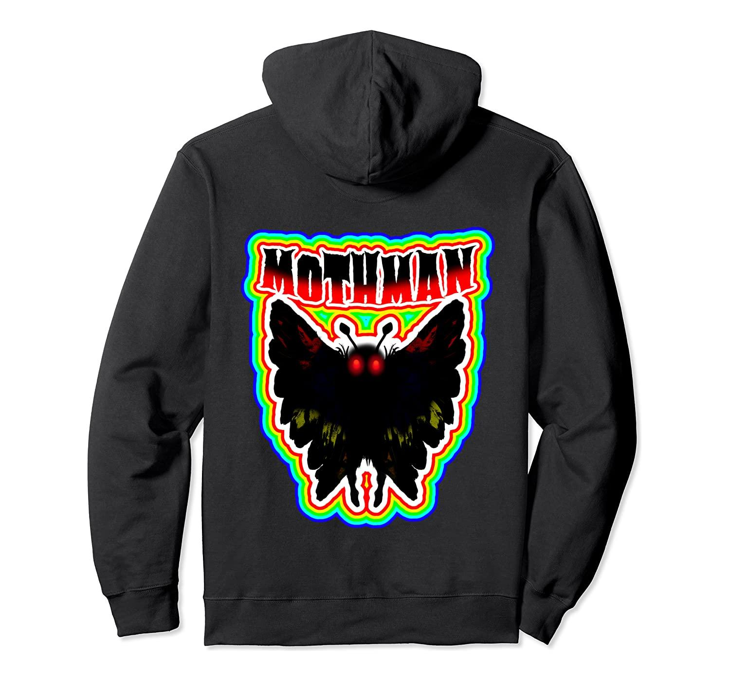 Bunte Vintage Retro Stil Mothman von West Virginia Hoodie Unisex S-5XL Schwarz / Grau / Navy / Royal Blue / Düster Heather