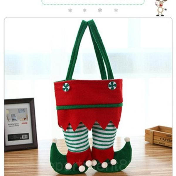 A-New Design 22*26cm Non Woven Fabric Christmas Elf Pants Stocking Candy Bag Kids X-mas Party Decoration Ornament Gift
