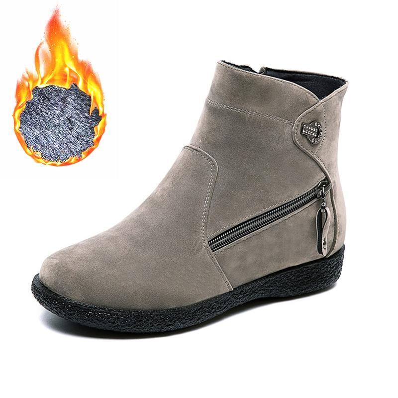 Botas 2021 invierno mujeres nieve cremallera peluche piel cálida piel piso plano femenino moda tobillo damas sólidos zapatos casuales