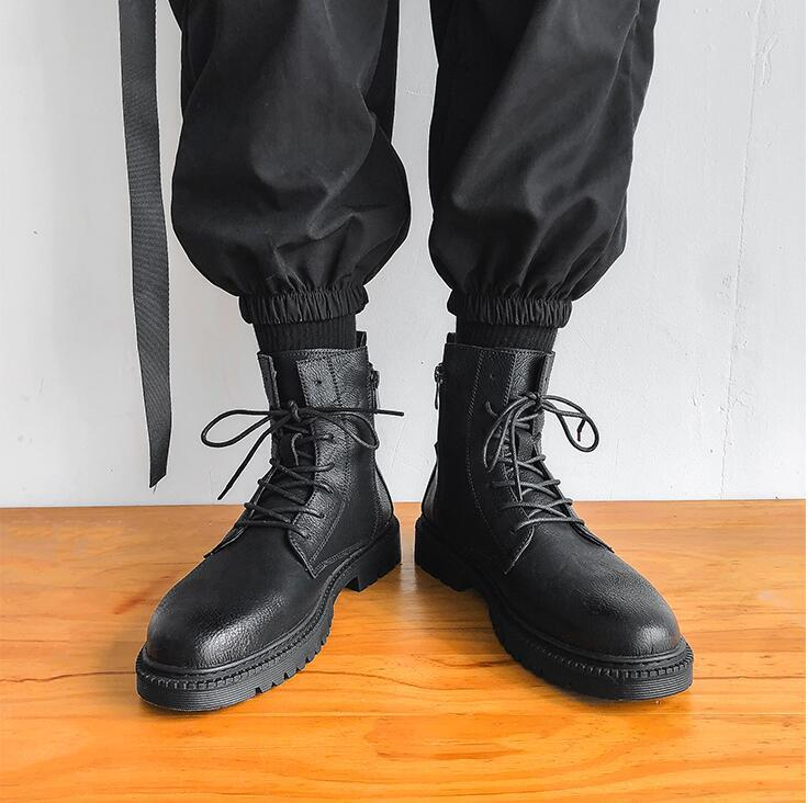 men boots winter lerther botties soft Side zipper High top cool black mens boot fashion keep warm size 40-45 06