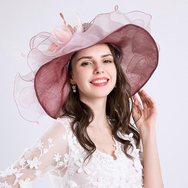 sombrero de sol del verano de las mujeres MIARA.L nueva UE con un gran sol casquillo de la manera sombrero de flores de malla