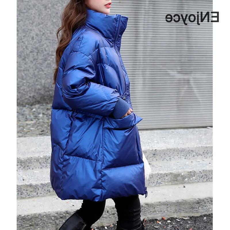 2020 зимняя белая утка средняя длина сплошной цвет женской куртки верхняя одежда мода свободных женщин вниз куртки пальто