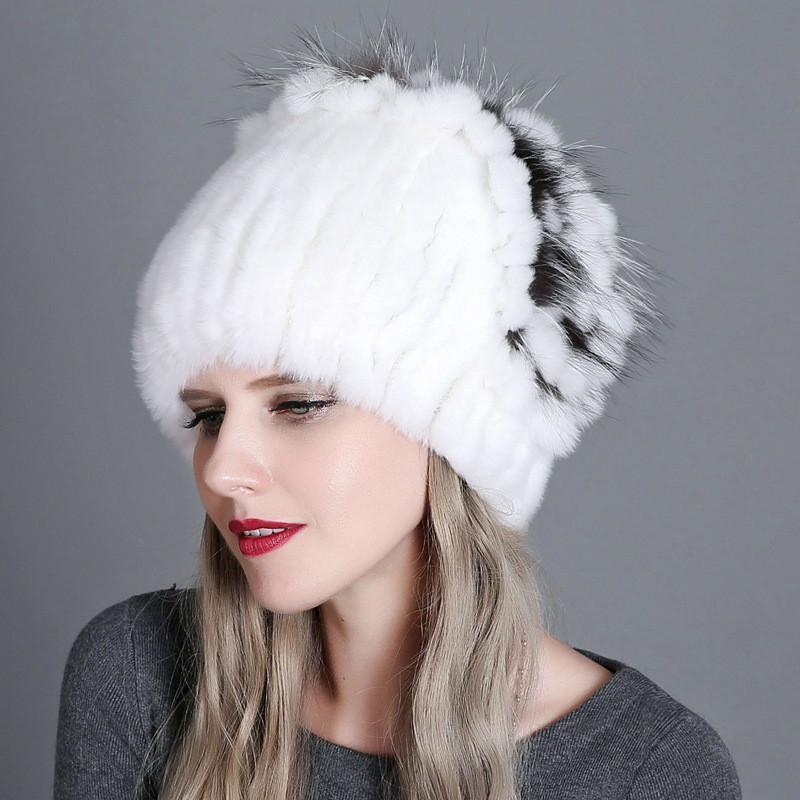 Mütze / Schädelkappen 20 Stil Frauen Winter Europäische amerikanische Wärme Mode Dicke Wollhut Rex Pelz Stroh Strickstück Strickstücke mit Seitenblume