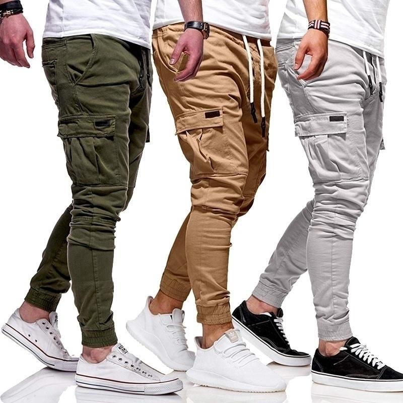 Erkekler Sonbahar Ince Pamuk Rahat Pantolon Pantolon Sıska Jogger Pantolon Kargo Pantolon Moda Erkekler İpli Pantolon Ince Sweatpants Erkekler 201118