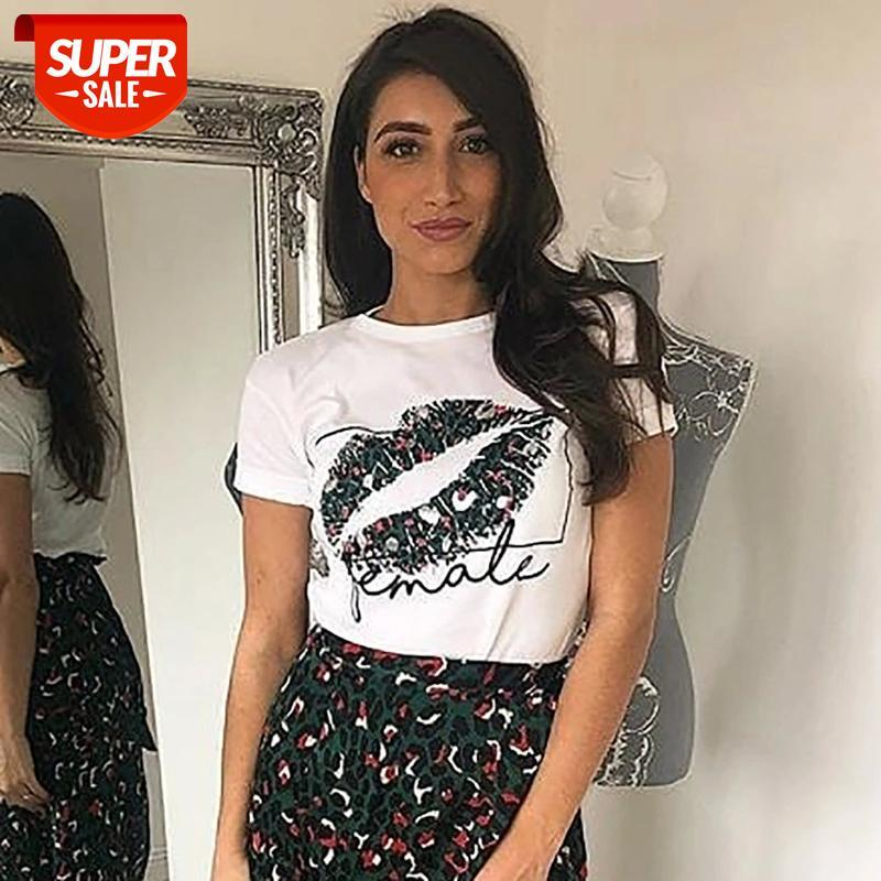 Sexy Lips Imprimer T-shirts Été Femmes T-shirts Chemises Femme Casual 2019 T-shirt Femme Housses à manches courtes Chemise florale # 461x