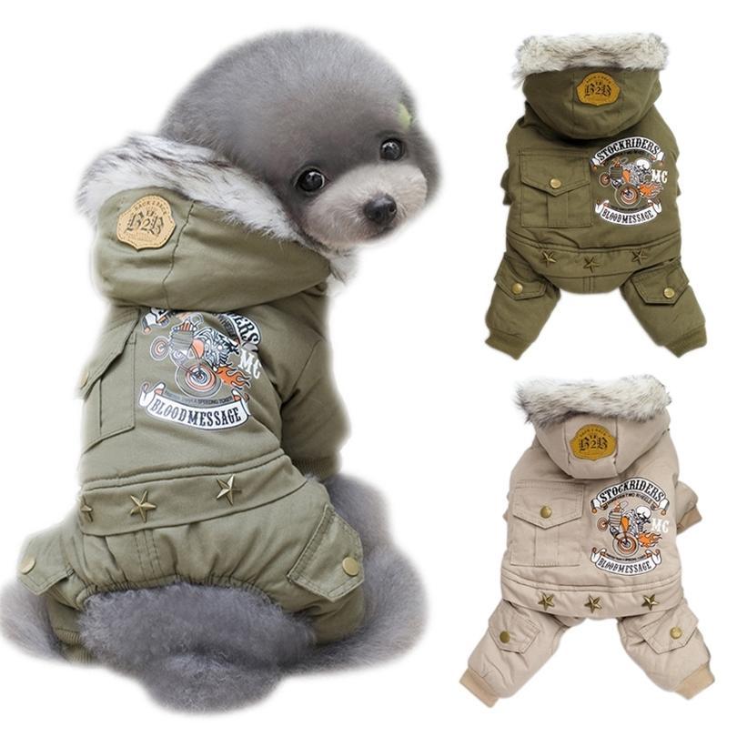 Roupas de cachorro Inverno Filhote de Cachorro Quente Estilo Casaco Impresso Casacos para Cães Pequenos Capuz Chihuahua Yorkshire Jumpsuits Roupas de Cão 201225